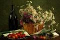 Picture flowers, napkin, bottle, chrysanthemum, glass, wine, cherry, still life, basket