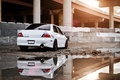 Picture puddle, Mitsubishi, reflection, Lancer, white, lancer, evolution, mitsubishi, construction, evo