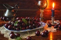 Picture berries, glass, candle, pitcher, still life, cherry