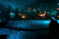 Picture Alberto Vangelista, planet, bridge, art, people, dark, rocks, fire