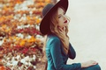 Picture look, girl, face, style, hair, hat, dress, lipstick, coat