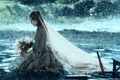 Picture bouquet, rain, Keira Knightley, girl, veil, Nesta, dead man's chest, Elizabeth Swann