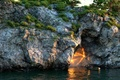 Picture Maxim Kagirov, boat, reflection, rays, swimming, trees, CG wallpapers, wave, water, rocks, opening, rendering, lantern, ...