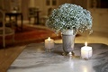 Picture flowers, vase, candle
