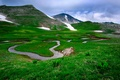 Picture mountains, stream, the sky, grass, river, clouds