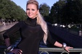 Picture girl, trees, bridge, river, view, earrings, bracelets, Anna Semenovich