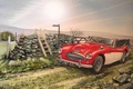 Picture Roadster, figure, Austin Healey, machine, road, painting, classic