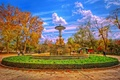 Picture Park, Spain, trees, people, the city, autumn, the sky, fountain, clouds