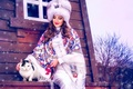 Picture fur, snow, winter, shawl, hat, ethno, girl, cat