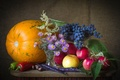 Picture autumn, apples, grapes, pumpkin, pepper, still life, chestnut, asters, beans