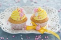 Picture flowers, yellow, sweets, decoration, cream, dessert, cakes, ribbons, cakes, sweet, cupcakes, Anna Verdina