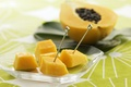 Picture pieces, slices, tropical fruits, papaya, skewers