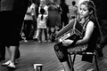 Picture street, girl, accordion
