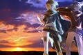 Picture the sky, the sun, sunset, weapons, guys, vocaloid, Vocaloid, Kaito, bandage, Len Kagamine