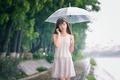 Picture umbrella, girl, walk, face, East, rain, drops