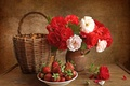 Picture vase, still life, flowers, roses, strawberry