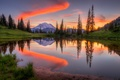 Picture trees, lake, mountains, forest, sunset