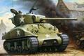 Picture war, smoke, figure, art, tank, devastation, Sherman