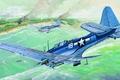 Picture bomber, war, art, airplane, painting, ww2, Douglas SBD Dauntless