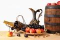 Picture apples, grapes, pitcher, fruit, nuts, champagne, basket, barrel