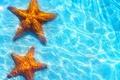 Picture sea, blue water, starfish