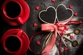 Picture cup, heart, coffee, Coffee, bow, Cup, heart, Valentines Day