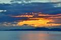 Picture ocean, seascape, mountains, twilight, boats, sea, dusk, silhouettes