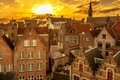 Picture sunset, Belgium, Bruges, old quarter, the rays of the sun