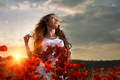 Picture sunset, flower field, woman