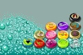 Picture bubbles, vector, cover, bright colors, carbonated drink, colored caps