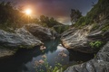 Picture the sun, landscape, flowers, nature, rocks, waterfall, Wallpaper from lolita777