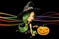Picture hat, Jack, witch, sitting, Happy Halloween, line, pumpkin, black background, witch, green hair