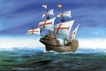 Picture ship, time, land, armed, to conquer, ships, shipping, 600-700, on it was mounted a 10 ...