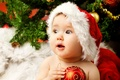 Picture merry christmas, child, children, Christmas tree, small suit of Santa Claus, little santa claus Costume, ...