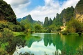 Picture the sky, water, clouds, trees, mountains, China