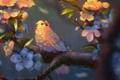 Picture leaves, flowers, tree, bird, branch, art, bird
