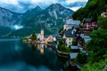 Picture Salzkammergut, Hallstatt, Alps, mountains, the city, boats, the evening, The Salzkammergut, Hallstatt, Dachstein, Hoher Dachstein, ...