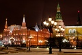 Picture winter, night, the city, lights, Red, area, lights, Moscow, tower, The Kremlin, Museum