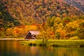 Picture autumn, grass, trees, mountains, house, river, shore