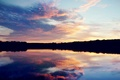 Picture the sky, clouds, sunset, lake, shore, the evening