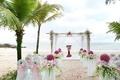 Picture vases, flowers, sea, gazebo, tropics, nature, coast