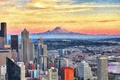 Picture mountain, home, the city, Seattle, lights, the sky, building, Seattle