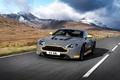 Picture road, car, auto, Aston Martin, speed, Aston Martin, grey, yellow, V12, and, Vantage S, Sport-Plus ...