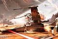 Picture the sky, rays, the explosion, desert, smoke, ship, battle, logo, helmet, armor, logo, stormtroopers, Electronic ...