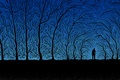 Picture people, trees, branches, blue, black
