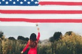 Picture background, girl, flag