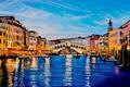 Picture the sky, water, landscape, bridge, river, color, building, home, picture, boats, channel, architecture, painting, Lutsenko, ...