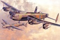 Picture four-engine, Stirling, Short, art, WW2, bombers, figure, clouds, British, the sun, the sky, aircraft