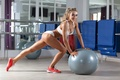 Picture blonde, ball, workout, fitness, gym