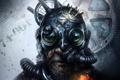 Picture cyberpunk, grandfather, beard, helmet, grandpa, fiction, art